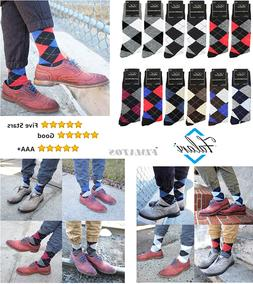 Falari 12 Pairs Assorted Colors Argyle Men Dress Socks Size