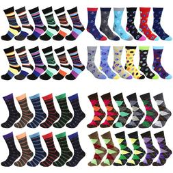 12-Pairs Cotton Men Dress Socks Multi Colors