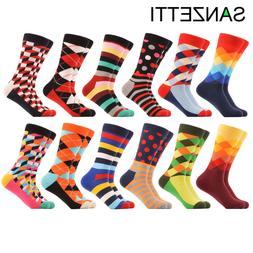 SANZETTI 12 Pairs/lot Men's Casual Funny Colorful Combed Cot