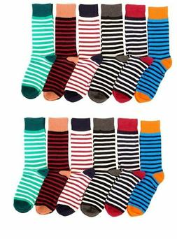 12 Pairs Mens Colorful  Stripped Dress Socks NEW A#MDST2 Neo