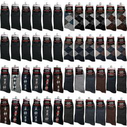 12 Pairs Mens Cotton Work Crew Fashion Casual Dress Socks Si