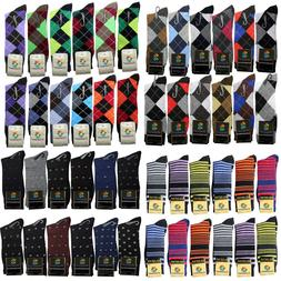 6-12 Pair New Cotton Men Argyle Diamond Style Dress Socks Si