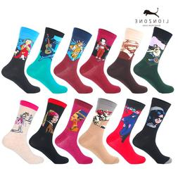 LIONZONE 12Pairs/Lot Men Funny Colorful Combed Cotton <font>