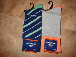 2 Pair Men's Dockers Dress Socks Stripe Crew Fits 6-12 NEW