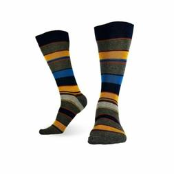 3 Pairs Mens Cotton Dress Socks Multicolor Casual Crew Strip
