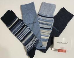 Calvin Klein 4-Pair Combed Cotton Casual-Dress Socks Gray/Bl