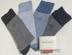 Calvin Klein 4-Pair Combed Cotton Casual-Dress Socks- Ass't