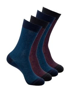 4 Pairs Mens Cotton Dress Socks Original Gift Box Blue & Red