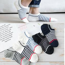 5 Pairs Fashion Mens Striped Socks Short Ankle Low Cut Cotto