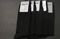 5 PAIRS MEN'S DRESS SOCKS SIZE 10-13  COTTON RIBBED SOLID BL