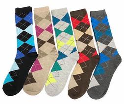 5 Pairs Mens Argyle Dress Socks NEW Fashion Casual Colors #B