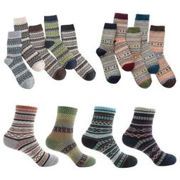 5Pairs Winter Warm Thick Wool Sokken Mixture Striped Thick C