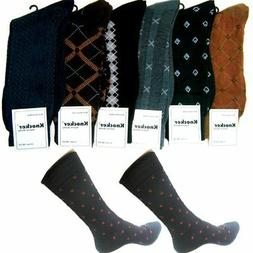 6 Pairs Mens Dress Socks Assorted Business Casual Print Work