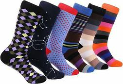 6 Pack Marino Mens Dress Socks Fun Colorful Cotton Funky Soc