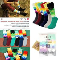 Mens Argyle Dress Socks 6-Pair Pack Funny Colorful Rainbow F