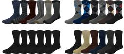 6 Pairs Men's Dress Socks Assorted Design Argyle Print Solid
