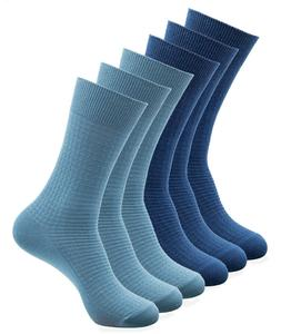 6 Pairs Mens Cotton Dress Socks Blue Variety Light Crew Pack