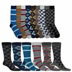 6 Pairs Mens Dress Socks Men Fashion Assorted Print Crew Des
