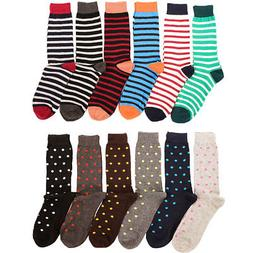 6 Pairs Mens Fashion Dress Socks Print Pattern Designer Mult