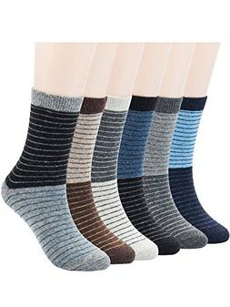 6 Pairs Mens Warm Wool Socks Thick Winter Thermal Stripe Woo