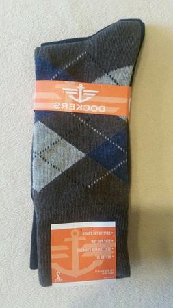 Dockers Mens Socks   Brown-Argyle & Solid-Black - Shoe Size