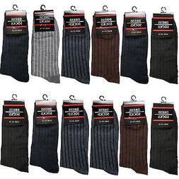 New 12 Pairs Mens Cotton Dress Crew Socks Size 10-13 Ribbed