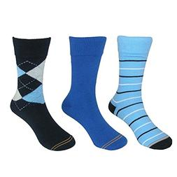 Gold Toe Boy's Argyle and Stripe Crew Socks , Large, Blue