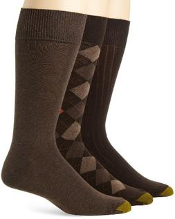 Gold Toe Men's Classic Argyle Sock, 3 Pack, Brown Diamond/Br