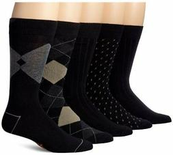 Dockers Men's 5 Pack Classics Dress Argyle Crew Socks, Black