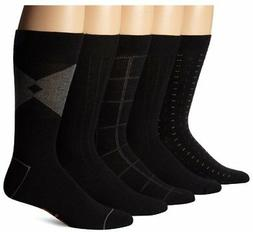 Dockers Men's 5 Pack Classics Dress Dashed Crew Socks, Black
