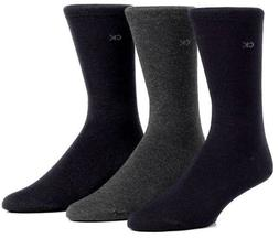 Calvin Klein Men's 3 Pack Combed Flatknit Socks, Black, Sock