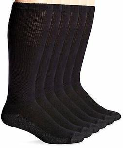 Hanes ComfortBlend Over-the-Calf Crew Socks 6-Pack Black 6-1