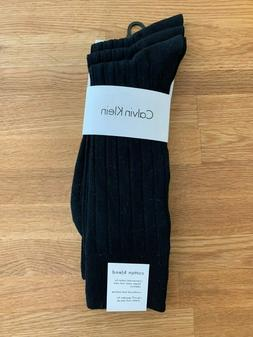 Calvin Klein Men's 3 Pack Cotton Rich Dress Rib Socks, Black