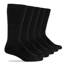 Dockers Men's 5 Pack Cushion Comfort Sport Crew Socks, Black