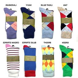 Dress Socks Argyle Geo Pattern Fashion Casual Mens Pairs siz
