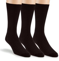 EMEM Men's Ribbed Cotton Classic Crew Dress Socks 3-Pack, Bi