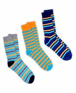 Men's Fancy Dress Socks Multi Color Blue Orange 3 Set Pair