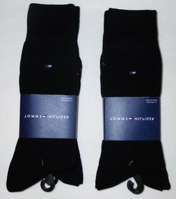 Tommy Hilfiger Men's 4 Pack Flat Knit Logo Crew Sock, Black,