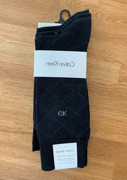 Calvin Klein Men's 3 Pack Fashion Geometric Socks, Navy, 7-1
