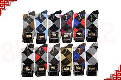 12 Pairs Mens Argyle Dress Socks Casual Cotton 10-13