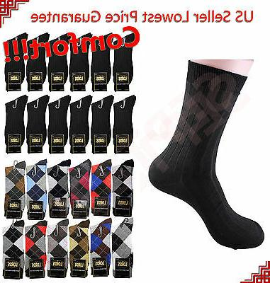 12 pairs mens argyle dress socks fashion