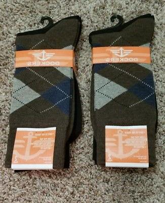 Dockers 2-pack Argyle Dress Crew Socks Brown/Black-Size 6-1