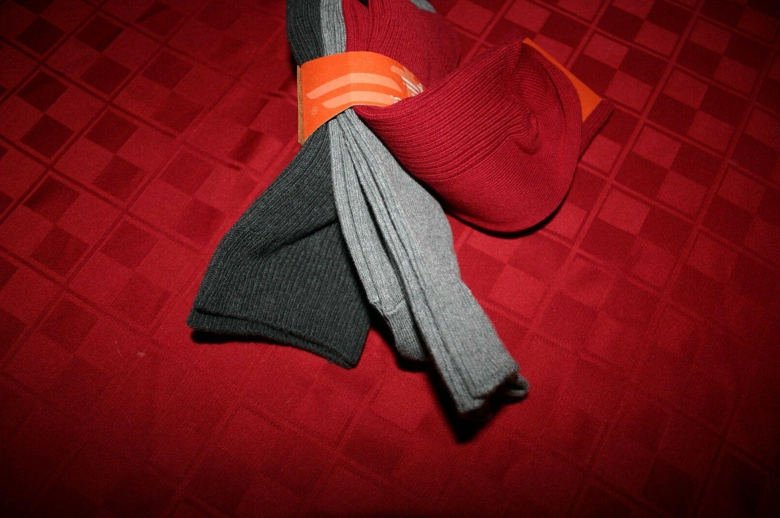 3 PACK DOCKERS SOFT DRESS SOCKS PUT GRAYS RED SIZE NIP