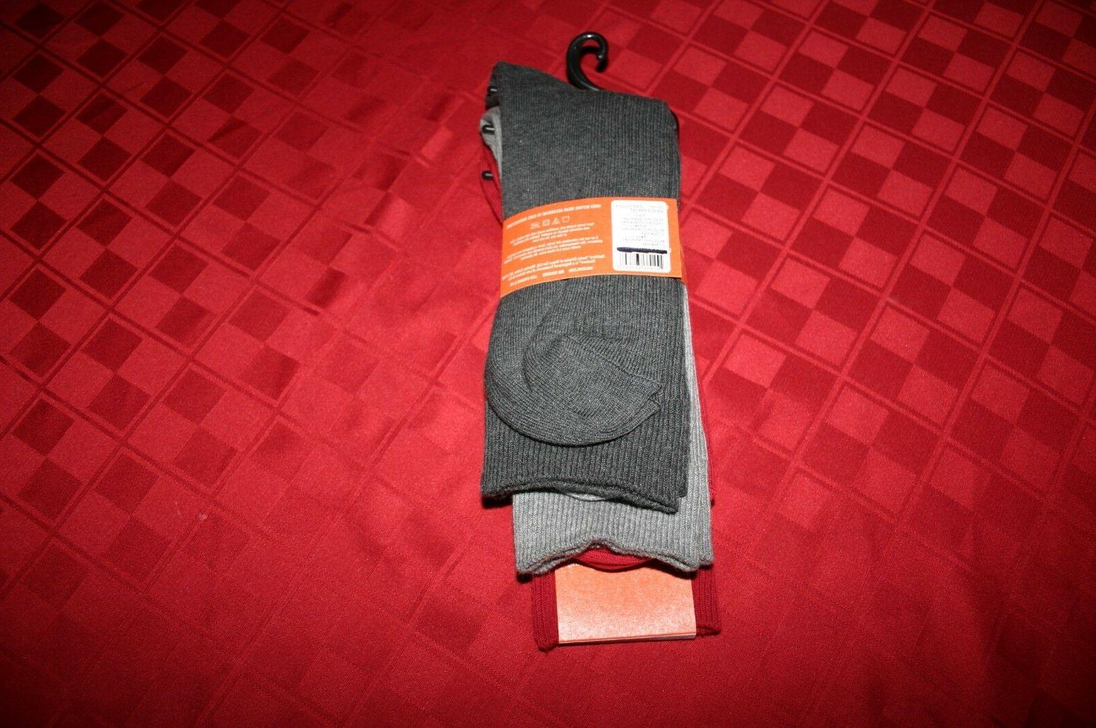 3 PACK MENS DOCKERS SOFT DRESS SOCKS PUT & RED SIZE NIP