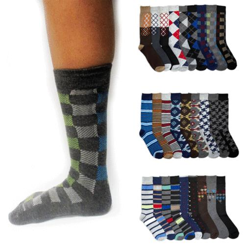 4 Pairs Mens Dress Socks Men Fashion Print Crew Design Argyl