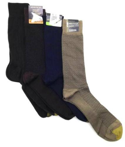 $45 GOLD TOE Men 4-PAIR PACK NAVY BLUE BROWN COTTON CREW DRE