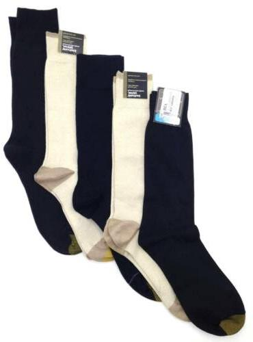 $50 GOLD TOE New Men's 5 PAIR PACK BLACK KHAKI BEIGE CREW DR