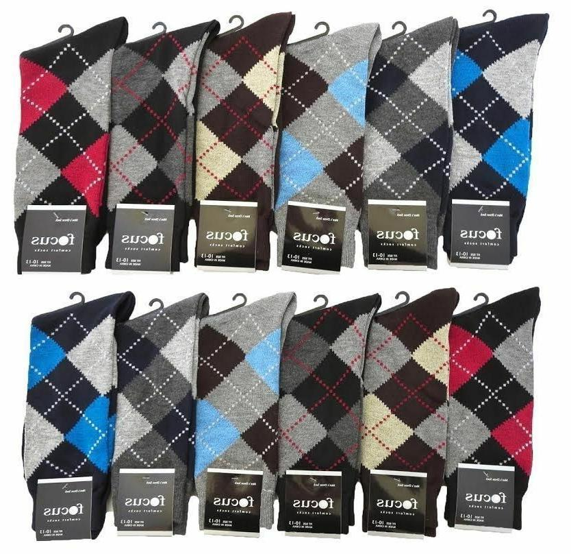 6 12 Pairs Mens #1Focus1 Argyle Dress Socks Designer Fashion