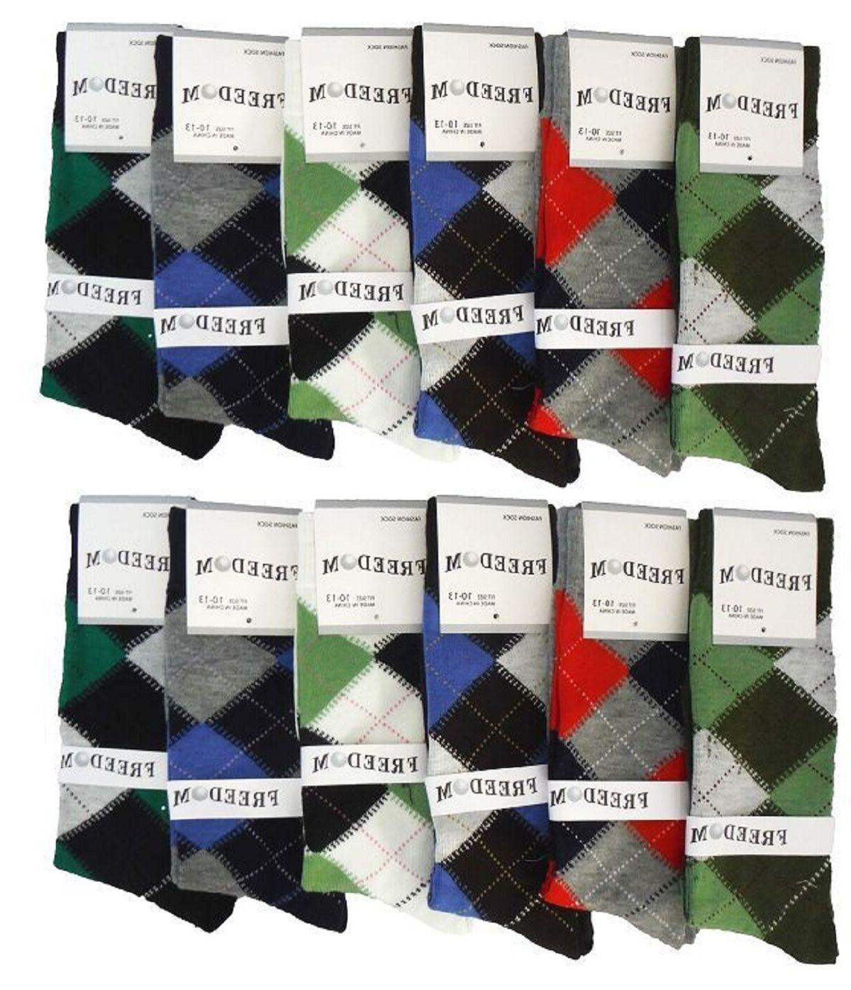 6 12 Pairs Dress Multi-Color Socks 10-13 from 5 Style #Freedom