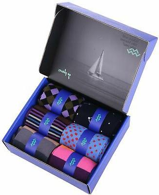 6 Marino Dress Socks Fun Cotton
